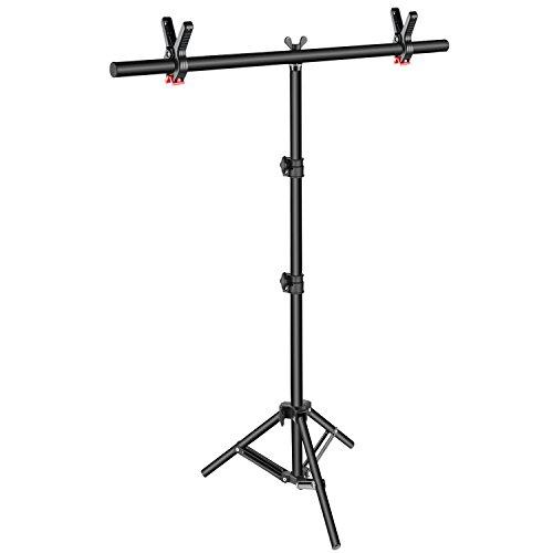 Neewer Kit di Supporto Stand a Forma T per Fondale Sfondo: 81-203cm Stand a 3 Piedi Regolabile & 90cm Traversa con 2 Morse Strette, per Fotografia Video in Studio
