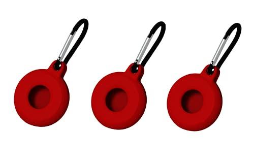 Custodia in silicone per AirTag, custodia protettiva con gancio per portachiavi, sicurezza e anti-smarrimento, mini facile da trasportare progettata per AirTag (confezione da 3) (Red)