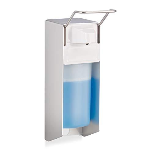 Relaxdays Dispenser Sapone 500 ml, Erogatore Disinfettante Fissaggio a Parete, Dosatore Gel Igienizzante, Portasapone A Gomito, Bianco
