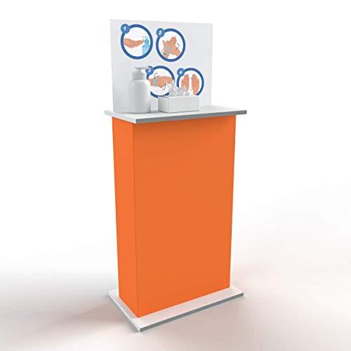 Colonnina MAXI con ripiano porta dispenser per gel igienizzante mani totem piantana porta disinfettante 61x96 cm (Arancione)