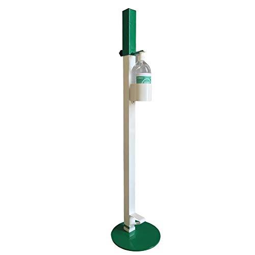 Colonnina Piantana NO TOUCH a Pedale porta Dispenser per Gel Disinfettante Mani INCLUSO Flacone Gel Igienizzante da 1litro (Verde)