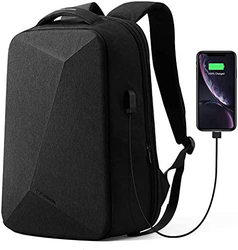 MS - Zaino antifurto per computer portatile da 15,6 pollici, per uomo e donna, con porta di ricarica USB, chiusura TSA per viaggi, scuola, lavoro, a forma di rombo nero