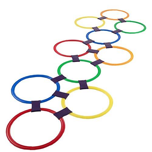 Hopscotch anello di gioco gioca 10 Multi-Colored di plastica Anelli e 9 Connettori per interni o esterni Usa-divertimento creativo Play Set per ragazzi e ragazze