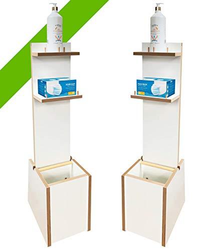 Colonnina igienizzante mani | In robusto legno | 2 Mensole porta Gel e/o Guanti | Un cestino intergrato (Bianco)