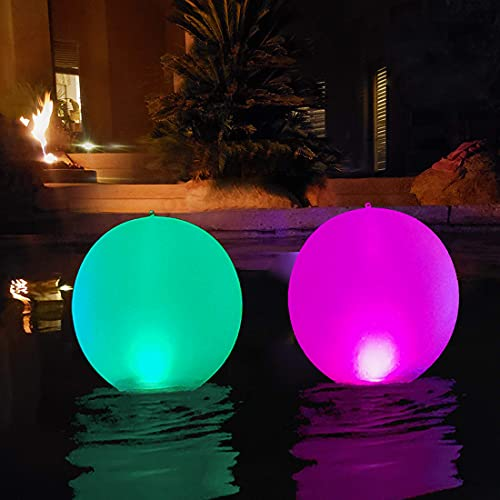 Solare da Giardino per Esterni,Luci per Piscine Galleggianti Globo Luminoso Impermeabile Gonfiabile del LED del LED Lampada di Sfera di Galleggiamento,LED Cambiante di Colore all'aperto (2PCS)