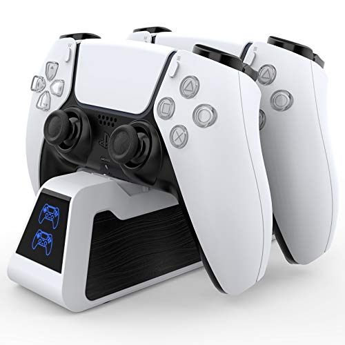 HEYSTOP Ricarica Controller PS5, Caricatore Rapido per Joystick PS5 con Indicatore LED, Base di Ricarica Doppia per Playstation5