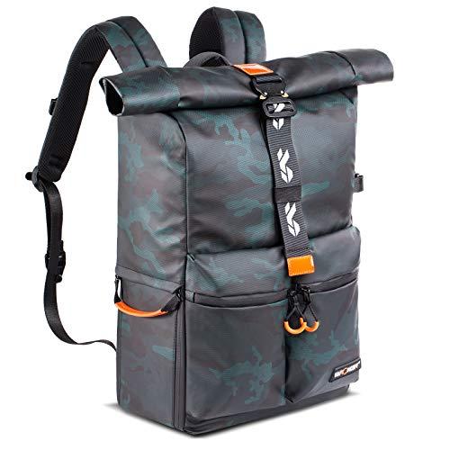 K&F Concept Zaino Fotografico 2 in 1 Impermeabile Multifunzionale Zaino da Viaggio Escursionismo, Antifurto Zaino Fotocamera per Obiettivo, Treppiede, Flash, Laptop ,Trekking
