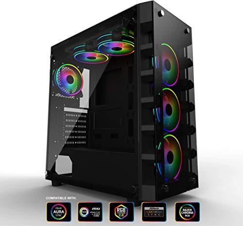 GELID SOLUTIONS Black Diamond Gaming PC Case - ATX ITX Mid-Tower, 4 Ventole ARGB, Gestione dei Cavi, Vetro temprato, Porte USB 3.0, Nero
