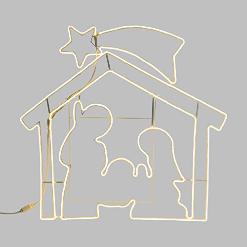 Figura Luminosa, Presepe Effetto Neon bifacciale 115 x h. 115cm, 1320 LED Bianco Caldo, Luce Fissa, Cavo Bianco, piedistallo, Esterno