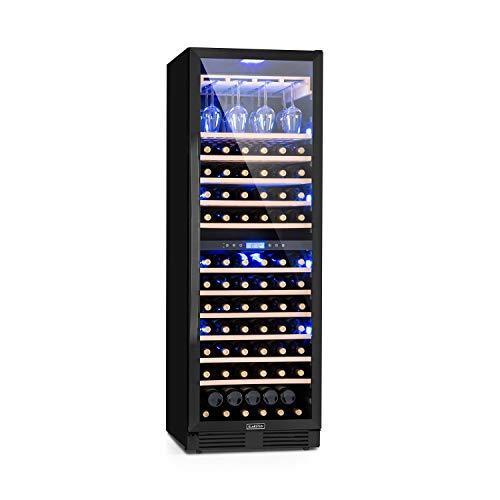KLARSTEIN Vinovilla Onyx Grande Duo - Frigo Vino, Cantinetta Vino, 425 L, 165 Bottiglie, Anta in Vetro, Illuminazione Interna in 3 Colori, 2 Zone, 12 Ripiani in Legno di Faggio, max. 24 Calici, Nero