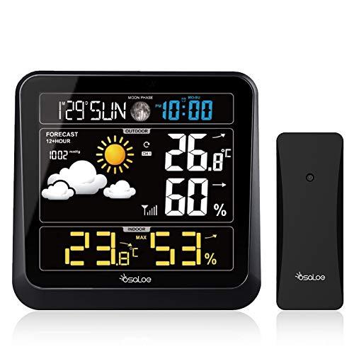 Osaloe Stazione Meteorologica, Stazione Meteorologica Digitale con Sensore Esterno Wireless Termometro per Interni ed Esterni Igrometro con Previsioni del Tempo, Temperatura umidit¡§¡è, Allarme/Snooze
