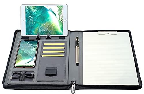Portfolio Padfolio - Portablocco con chiusura lampo, per lavori artistici, prendere note e per documenti personali, formato A4 33 cm x 26 cm x 3,8 cm Schwarz mit wireless charger