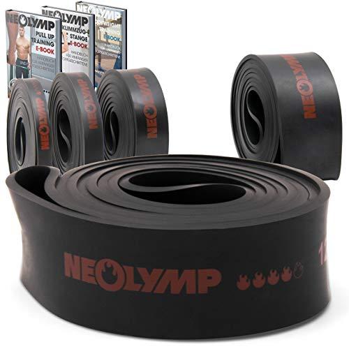 NEOLYMP Premium Pull Up Fitness Band | Perfetto per la costruzione del muscolo e Crossfit Freeletics Calisthenics | Fitness Band Pull Up Band Resistance Band (Nero Livello 4)