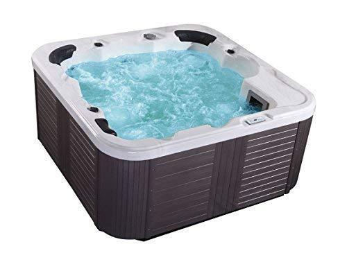 Outdoor Whirlpool Hot Tub Venezia Colore Bianco con 44 Massaggio Ugelli+Riscaldamento+Disinfezione Ozono + LED Illuminazione per 5 - 6 Persone per Giardino/Terrazza Esterno/
