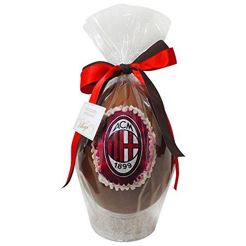 Uovo di Pasqua ARTIGIANALE del MILAN con SORPRESA da 350 grammi - Cioccolato al latte Squadre di Calcio (Milan, 350 gr)