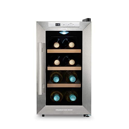 IKOHS WINECOOLER WOOD S – Cantinetta vino con 8 bottiglie, 23 l, 60 W, luce LED, display digitale, 3 ripiani, doppio isolamento, zone di temperatura da 8-18 gradi