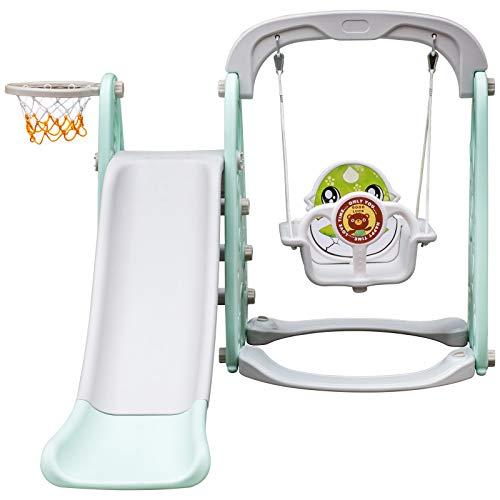 VEVOR Scivolo per Bambini Set Scivolo Altalena Interno Scivolo per Giardino Scivolo + Altalena + Piscina di Palline + Cesto a Palla 3-IN-1 Colore Verde in Plastica
