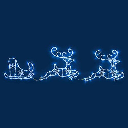Figura Luminosa, 2 Renne con Slitta Effetto ghiacciato 180 x h 50 cm, 144 LED Bianco Freddo, soggetti Luminosi, Figure di Natale, Decorazioni Natalizie