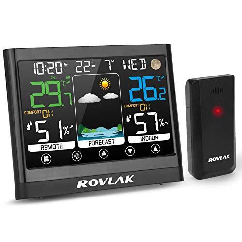 ROVLAK Stazione Meteorologica Meteo con Sensore Esterno LCD Display a Colori Termometro Igrometro Esterna Interna per Previsione di Tempo, Monitor Temperatura umidità, Sveglia, Snooze, Tempo, Data