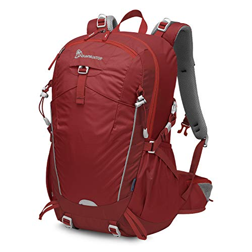 MOUNTAINTOP 35L Zaino Trekking Outdoor Multifunzione Zaino per Uomo Donna da Escursionismo Campeggio Viaggio Zaini con Copertura della Pioggia, Rosso