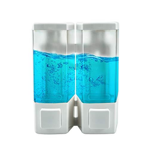 Doppio Dispenser Sapone Bagno a Parete 2 x 500 ml Dispenser Gel disinfettante Mani Dispenser di Sapone Liquido Doccia Gel e Shampoo dosatori per Ufficio, Scuola, Hotel, in plastica