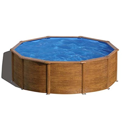 Gre KIT460WB Piscina con bordi Piscina rotonda 17450L Legno piscina fuori terra