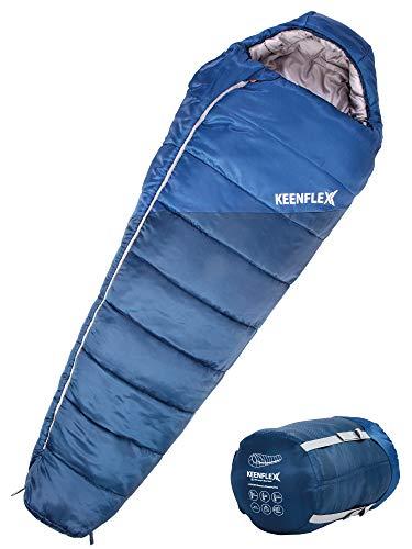 KEENFLEX Sacco a pelo invernale 4 stagioni con classificazione di temperatura da 0°C a -23.4°C (Blu)
