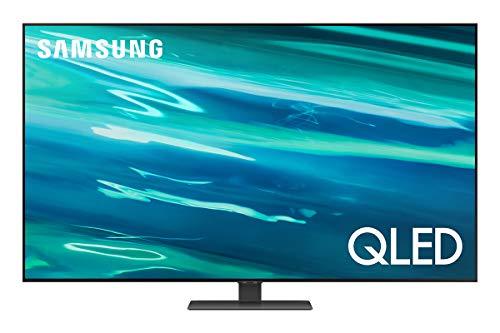 Samsung TV QLED QE55Q80AATXZT, Smart TV 55' Serie Q80A, QLED 4K UHD, Alexa integrato, Carbon Silver, DVB-T2 [Efficienza energetica classe G]