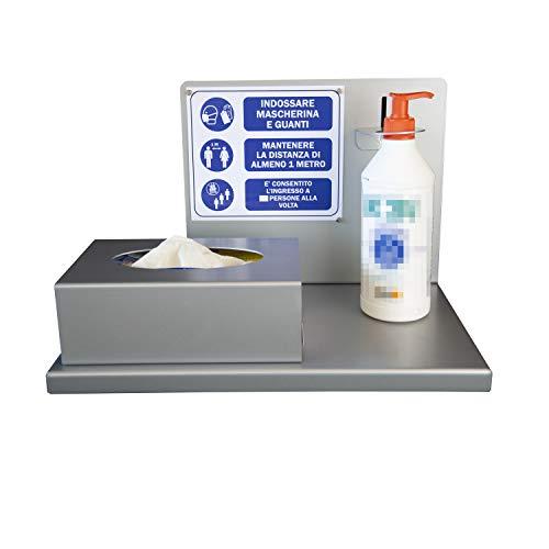 Dispenser da tavolo - porta igenizzante per le mani - Autoportante - Metallo - Taglio laser - esterno/interno - Portaguanti - Altezza sapone regolabile - Cartello con regole incluso