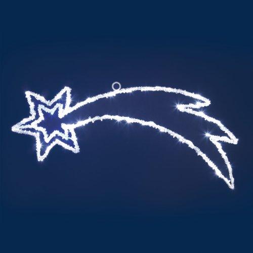 XMASKING Stella Cometa 63 x 25 cm Acrylic LED, 80 LED Bianco Freddo&Blu, Effetto Flashing, Cavo Trasparente, luci di Natale, Stelle di Natale, illuminazioni Natalizie