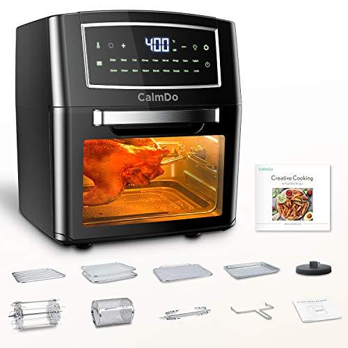 CalmDo Friggitrice ad Aria 12L, Forno ad Aria Calda 18 Programmi con Touch Screen, 1500W Friggitrice Senza Olio Air Fryer Temperatura Protezione Surriscaldamento con 10 Accessori e Ricettario