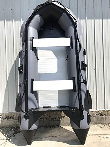 B/H Canotto Gonfiabile Grande Facile da Gonfiare e Sgonfiare,Barca d'assalto in Lega di Alluminio, gommone-Grigio_360 cm,Canotto Gonfiabile PVC Resistente