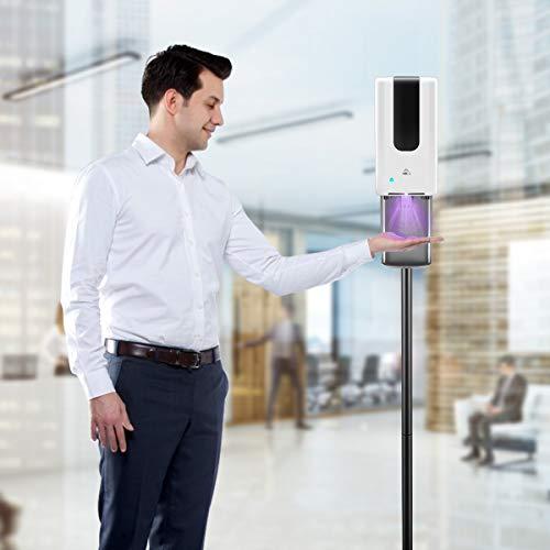 4YANG Piantana Automatica con Dispenser, Distributore Automatico Igienizzante Mani, con Supporto da Pavimento Durevole/Vassoio antigoccia/Regolabile in Altezza/Sensore a infrarossi(1200ml)