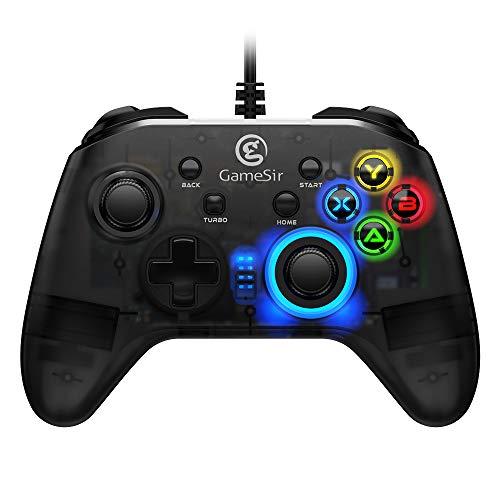 GameSir T4w Wired Gamepad con Cavo USB Joystick Trasparente Controller di Gioco con Luci a LED per Windows PC