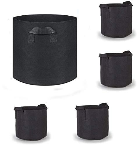 ANTEER Sacchi per Piante di Tessuto Non Tessuto, 5 pacchi 3 gallone Vasi in Tessuto per aerazione con Manici Contenitori per vasi per Piante da Esterno e per Interno 25cm x 22cm
