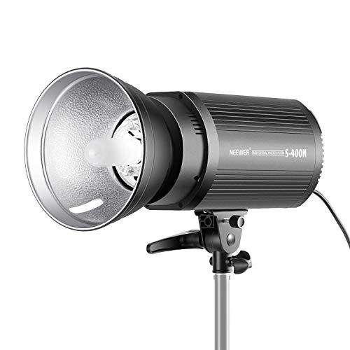 Neewer Flash Strobo Monoluce Professionale da Studio 400W GN60 5600K con Lampadina di Modelizzazione, Struttura in Lega di Alluminio per Indoor Fotografia di Modelli & Ritratti (S400N)
