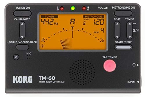 Korg TM60-BK, Metronomo con microfono a contatto Senza contatto Mic No Clip Mic Nero