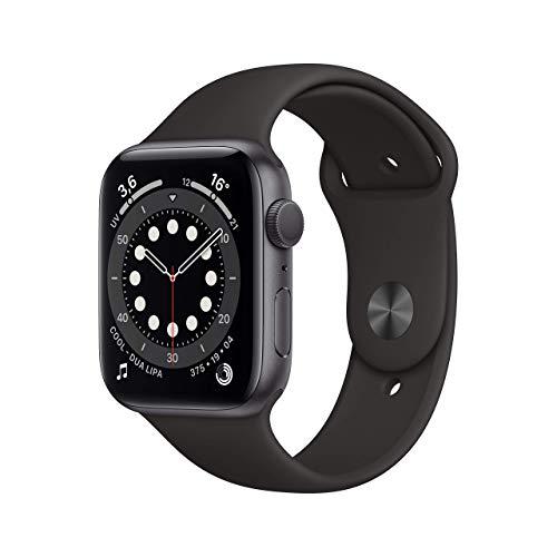 AppleWatch Series6 (GPS, 44mm) Cassa in alluminio grigio siderale con Cinturino Sport nero