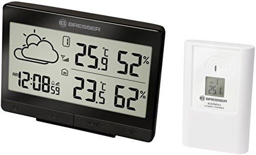 Bresser - Stazione meteo radio con sensore esterno Temeo Trend LGX per temperatura e umidità inclusa previsioni meteo, orologio radiocontrollato con sveglia, colore: Nero