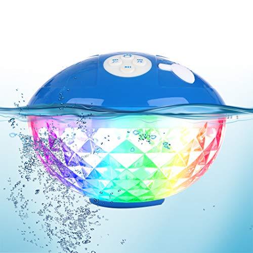 Altoparlante Bluetooth Portatili, Casse Bluetooth Senza fili IPX7 Impermeabile Altoparlante della Doccia Galleggiante, Carillon Vivavoce con luci che cambiano colore per Piscina, Festa,Esterno,Viaggio