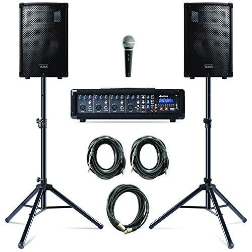 Alesis PA System in a Box Bundle - 2 Casse con Cavi, Stand e Microfono con Cavo - Sistema di Amplificazione da 280 Watt con Mixer Amplificato a 4 Canali
