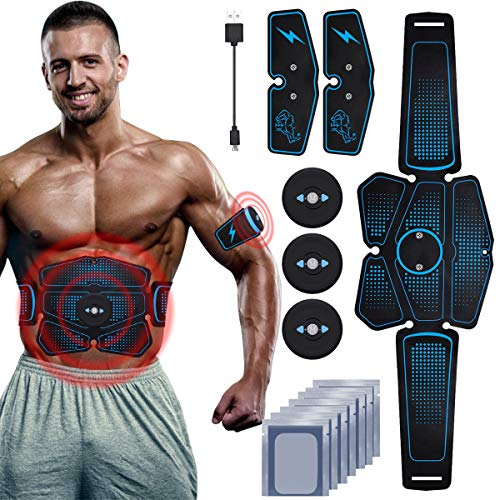 RIRGI Koiteck Elettrostimolatore per Addominali, Elettrostimolatore Muscolare Professionale per Braccio/Gambe/Glutei, EMS con USB Ricaricabile, 6 modalità e 9 Livelli di Intensità (12PCS Gel) (Blu)