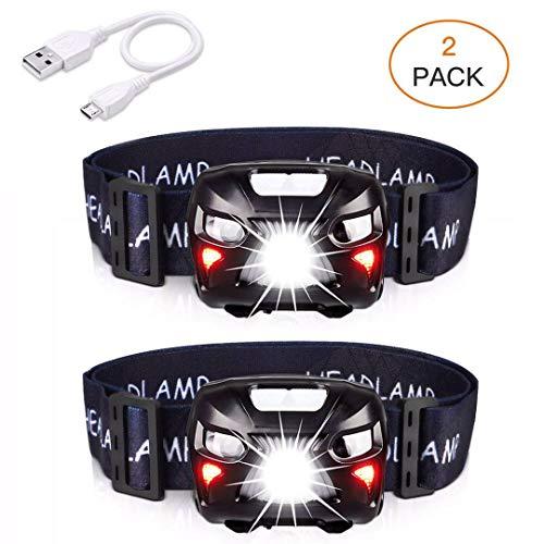APUNOL Torcia Frontale LED, Lampada Frontale Ricaricabile USB Impermeabile con 400 Lumens, 8 Modalità di Luce Bianca e Rossa, Lampada da Testa (2 Pezzi) per Campeggio Escursioni Corsa Sport