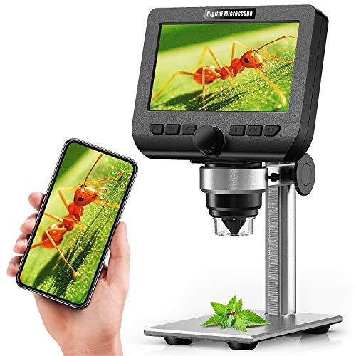 Microscopio Digitale Wireless, Microscopio YINAMA da 4,3 Pollici 1080P, Fotocamera per Microscopio Stereo USB con Ingrandimento 50-1000X da 2 Milioni di Pixel, con Batteria 1800mAh con 32G TF Card