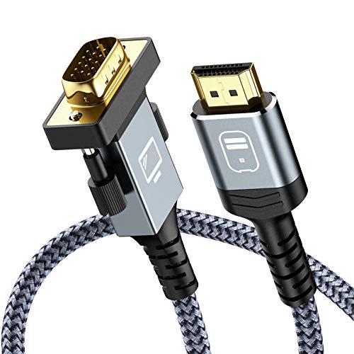 Cavo HDMI a VGA 1.8m, Snowkids HDMI a VGA [1080p Full HD, placcato in oro, cavo vga di convertitore di nylon durevole] supporta il lettore DVD portatile, monitor di TV portatile, ecc