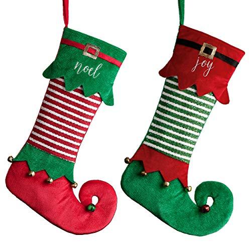 Valery Madelyn Calze Natale da Appendere Tradizionale Rossa Verde da 18 Pollici con Cartellino del Nome e Campanelle, a Tema con Gonna ad Albero (Non Inclusa)