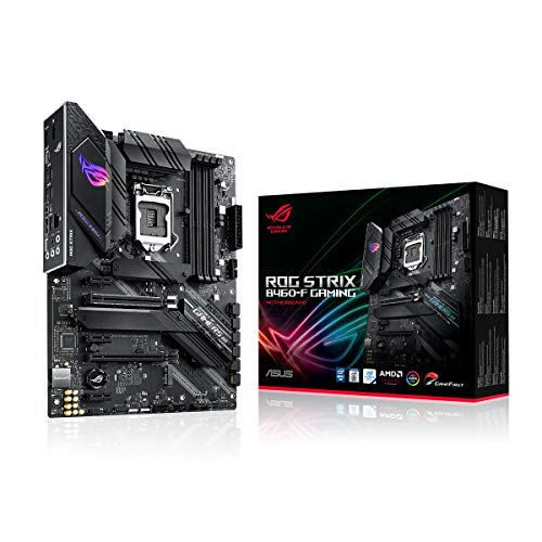 ASUS ROG STRIX B460-F GAMING, Scheda madre Gaming Intel B460 LGA 1200 ATX, AI Networking, Intel 1Gb Ethernet, dual M.2 con dissipatori, USB 3.2 Gen 2x2, SATA e AURA Sync RGB
