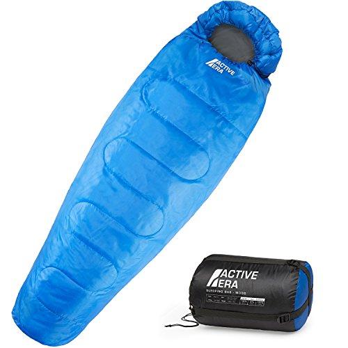 Active Era Sacco a Pelo 300 gsm, 3-4 Stagioni, Mummia, Ideale per Campeggio ed Escursioni