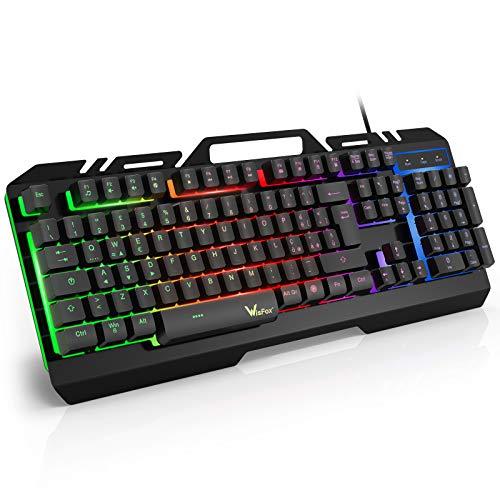 Tastiera Gaming, WisFox Tastiera Metallica Cablata USB Tastiera, Tastiera da Computer Cablata Retroilluminata a Colori Rainbow Resistente Agli Schizzi per PC Windows / Mac