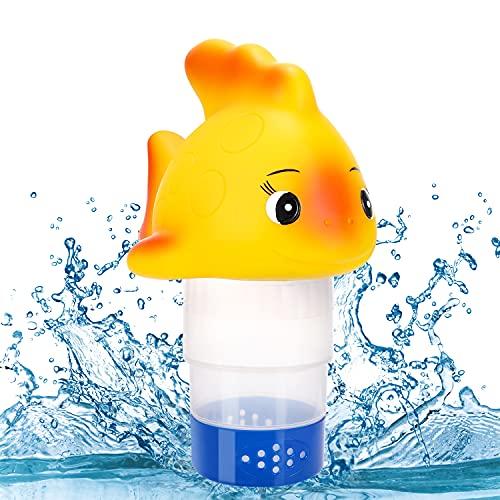 RenFox Dispenser Cloro, Dosatore Cloro Galleggiante a Forma di Pesce Rosso, Erogatore di Cloro Regolabile, Dispenser Chimico per Piscina Spa Jacuzzi, Può contenere pastiglie di cloro da 7,6 cm